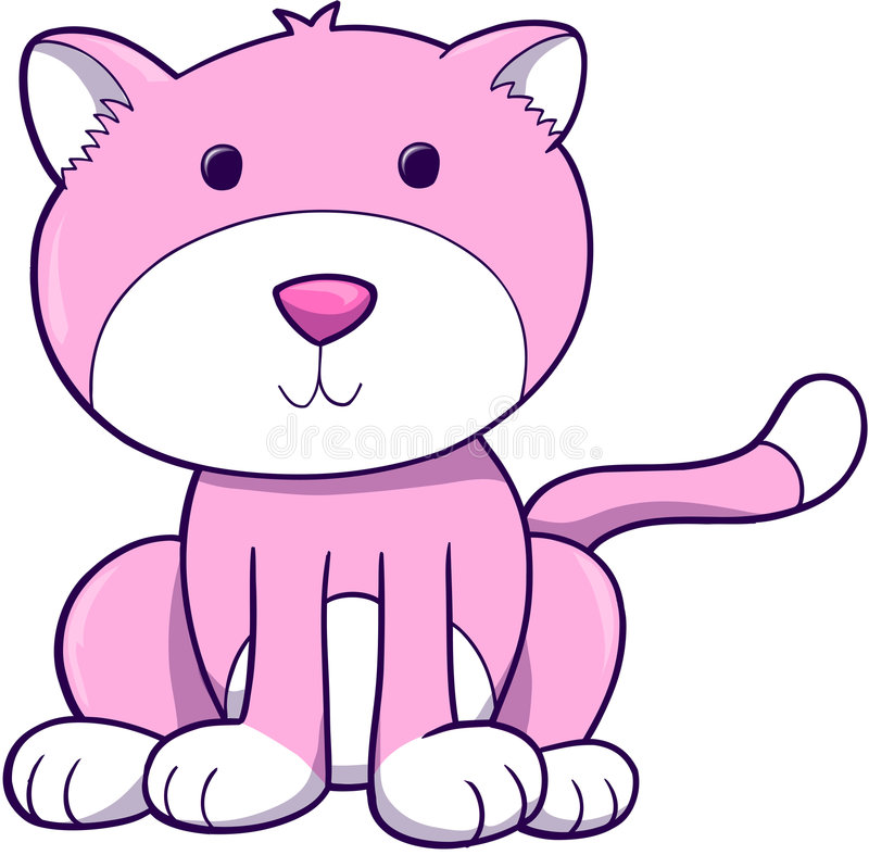 Vector rosado del gato libre illustration
