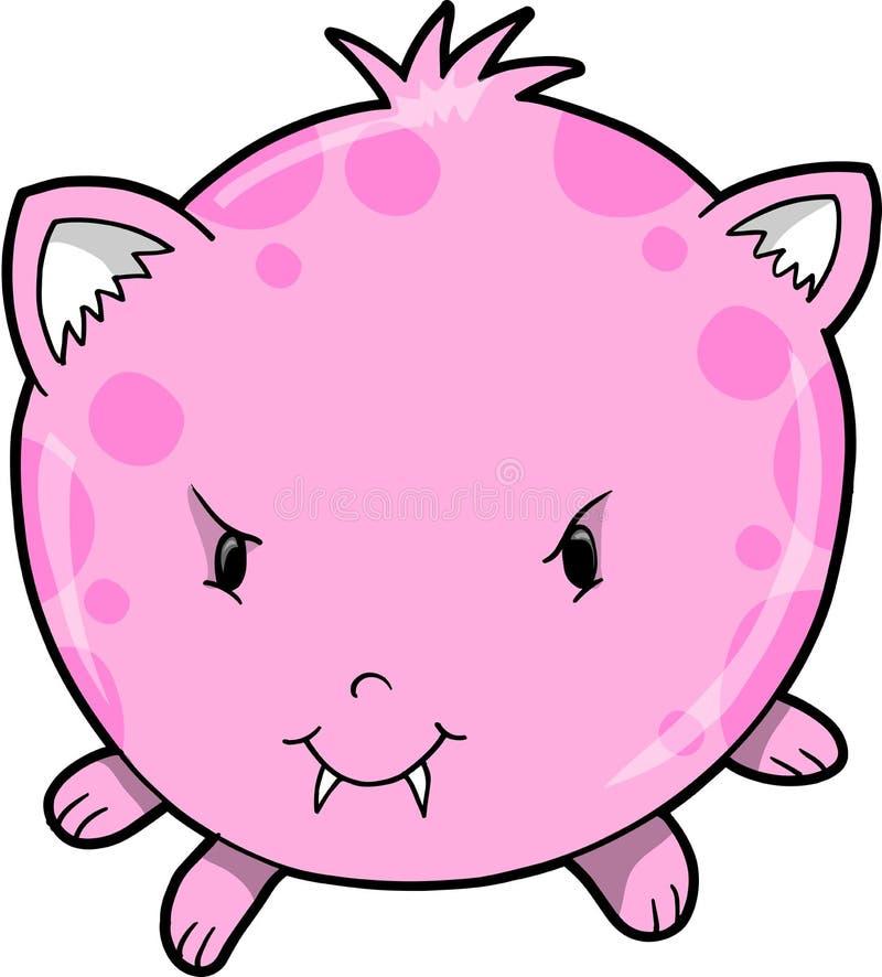 Vector rosado lindo del monstruo stock de ilustración
