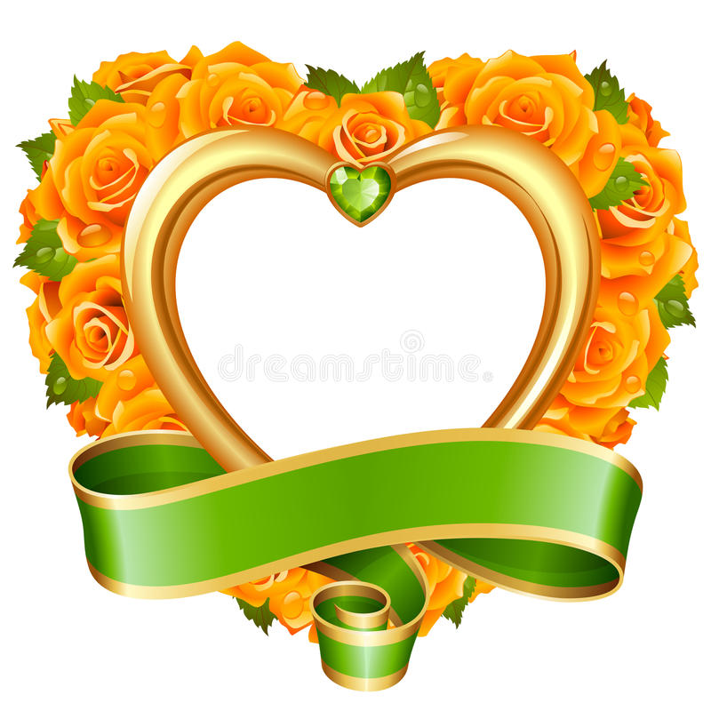 Vector rose frame in the shape of heart on white background royalty free illustration