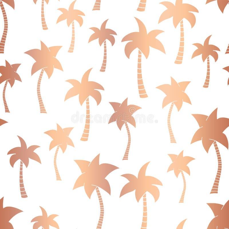 Vector rose gold foil palm trees summer seamless pattern background. Metallic copper foil palm trees. Elegant luxurious design for stock illustration