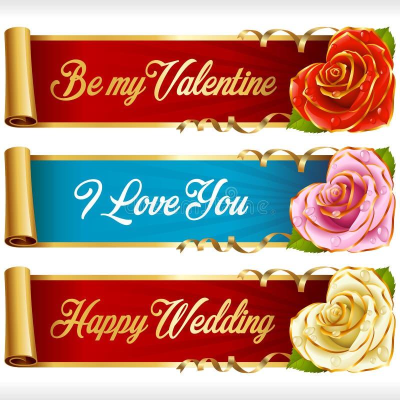 Vector Rose Hearts e as bandeiras horizontais das fitas do redemoinho ajustadas ilustração stock