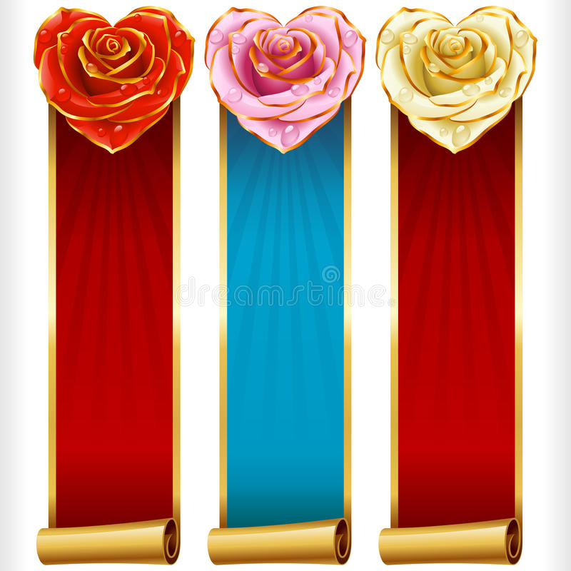 Vector Rose Hearts e as bandeiras verticais das fitas do redemoinho ajustadas ilustração do vetor