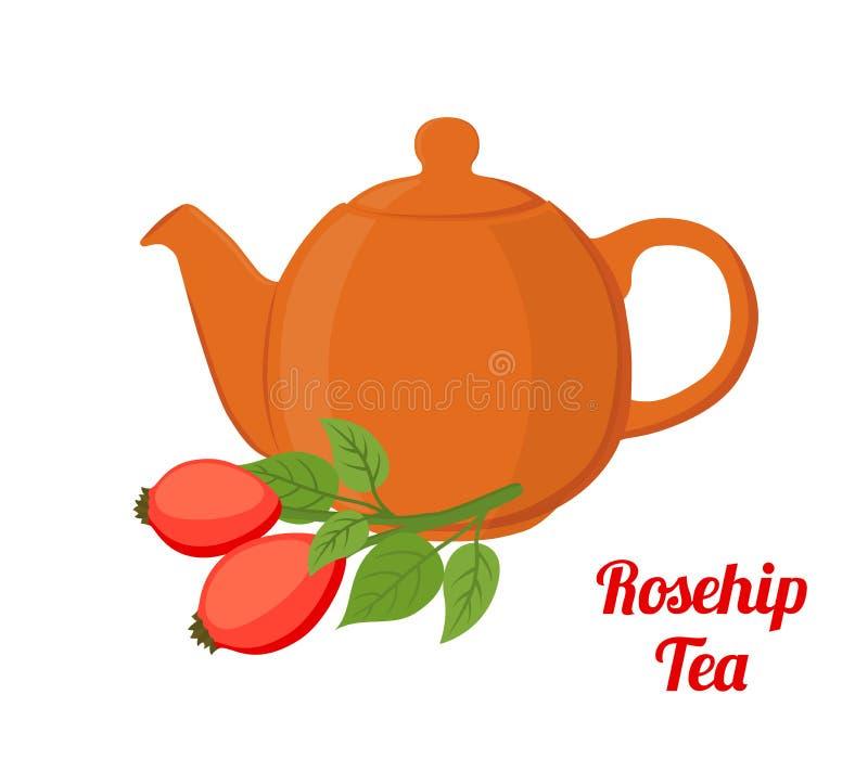 Vector rosehip, briar tea, rose haw kettle. Cartoon flat style. Vector rosehip tea, rose haw kettle, medical herbal plant. Organic vegetarian briar tea. Made in royalty free illustration