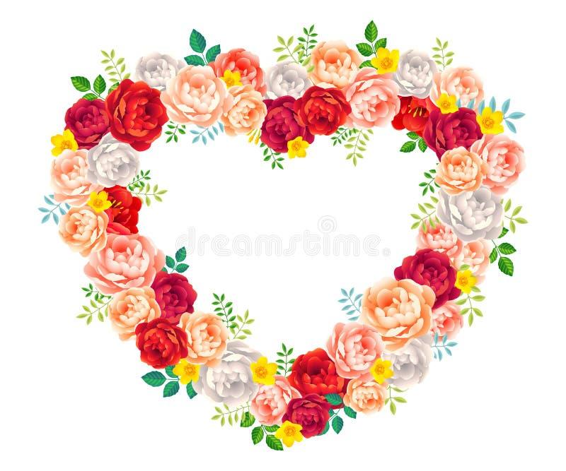 Vector Rosenblumenrahmen für Heiratseinladungskarte, dekoratives Element vektor abbildung