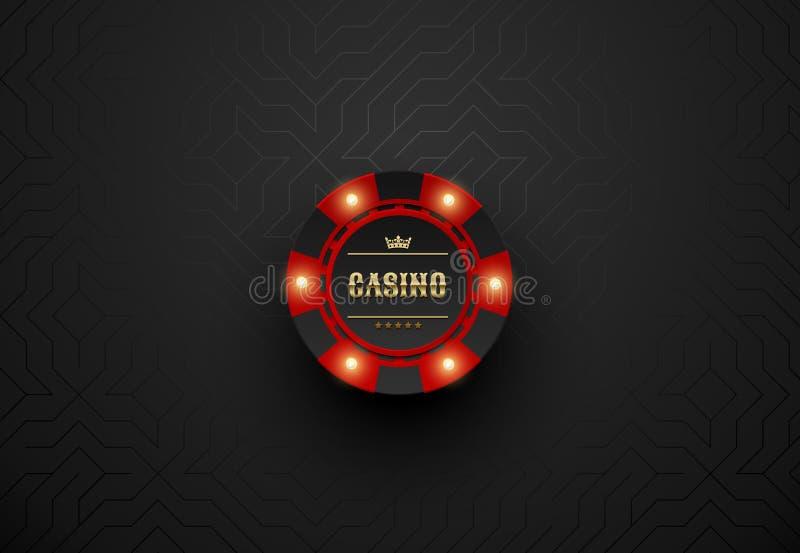 Vector roten Kasinopokerchip mit leuchtenden hellen Elementen Schwarzer silk geometrischer Hintergrund Blackjack oder on-line-Kas stock abbildung