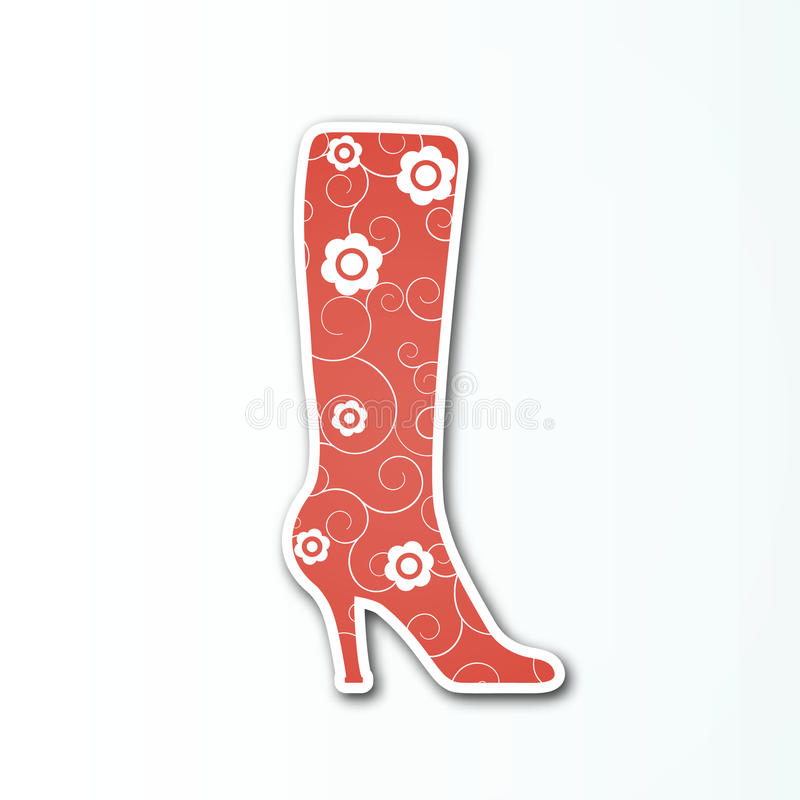 Vector rotes Stiefelzeichen für die Frauen ` s Schuhsammlung stock abbildung