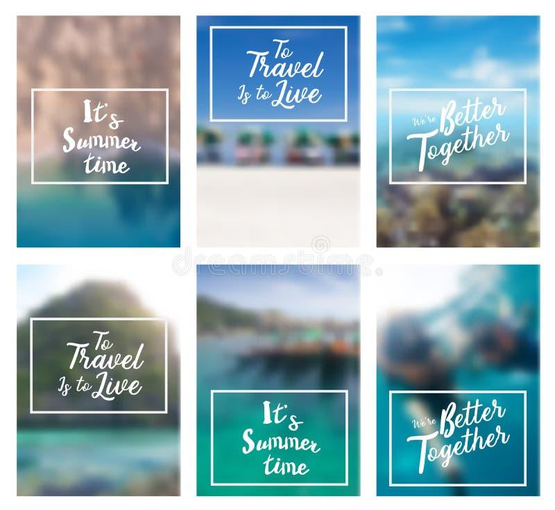Vector a rotulação da praia inspirada positiva do verão do feriado das citações ilustração stock