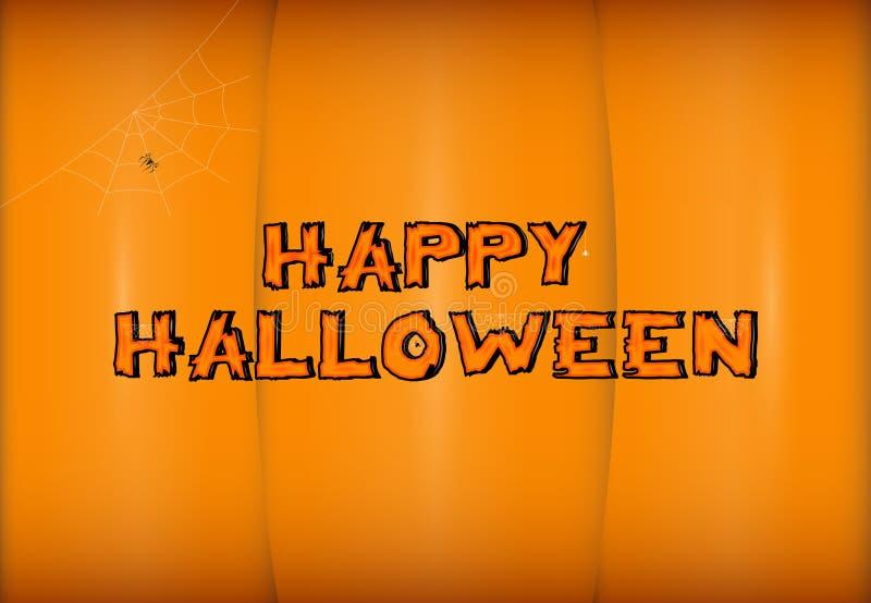 Vector a rotulação feliz de Dia das Bruxas no fundo estilizado da abóbora Caligrafia do feriado com aranha e Web para a bandeira ilustração stock