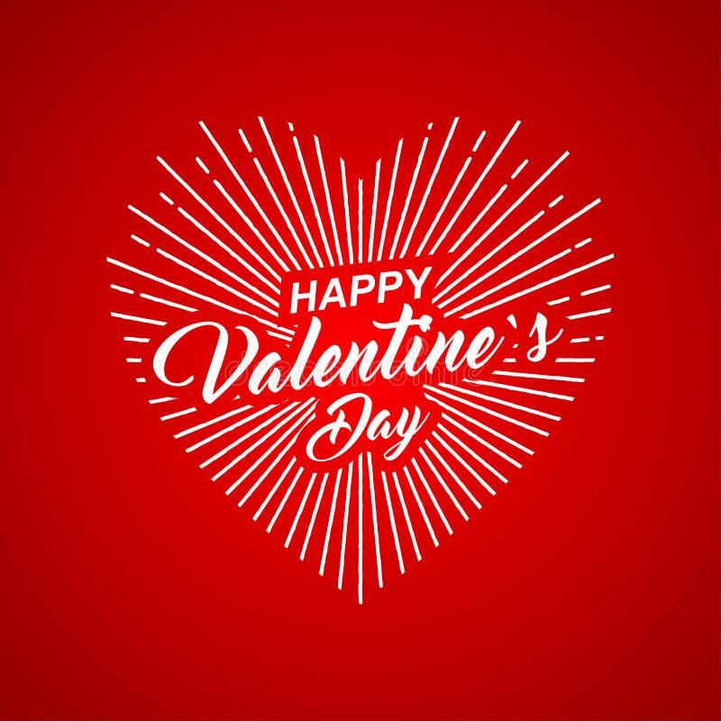 Vector a rotulação feliz do texto do dia de Valentim com forma do coração no fundo vermelho ilustração do vetor