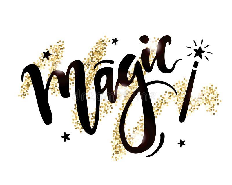 Vector a rotulação tirada mão da mágica da palavra com a varinha mágica no fundo dourado brilhante ilustração royalty free