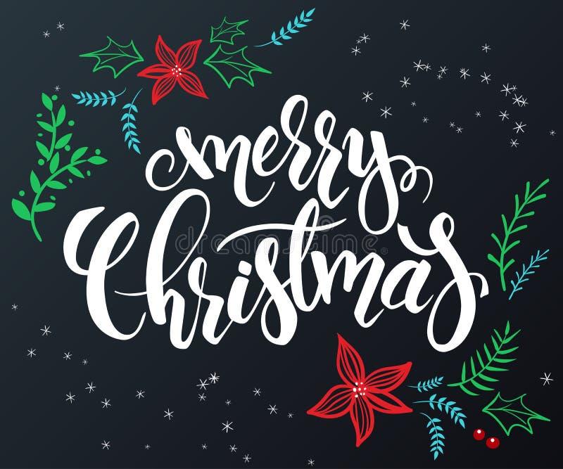 Vector a rotulação tirada mão - Feliz Natal - com elementos decorativos da garatuja - flor da poinsétia, ramo e ilustração royalty free