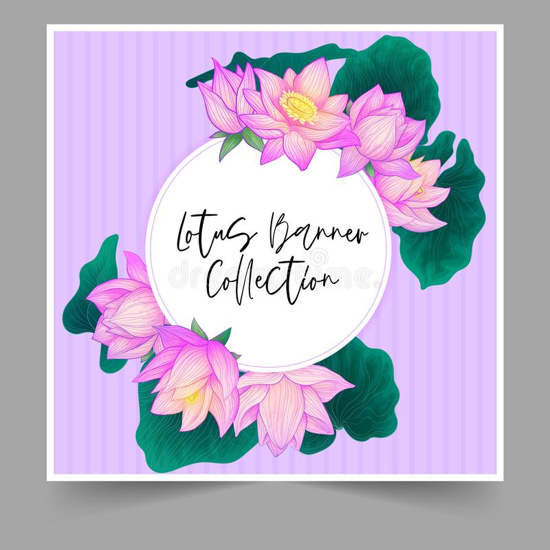 Vector round banner purple hand draw lotus flower with green leaves with watercolor imitation on purple background with stripes. W. Edding invintation with vector illustration