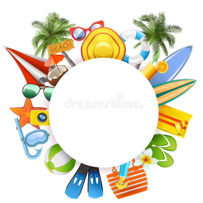 Vector Round Blank Frame with Beach Accessories vector illustration