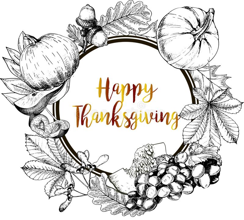 Download Vector Round Border Greeting Card For Thanksgiving Hand Drawn Vintage Engraved Illustration Stock