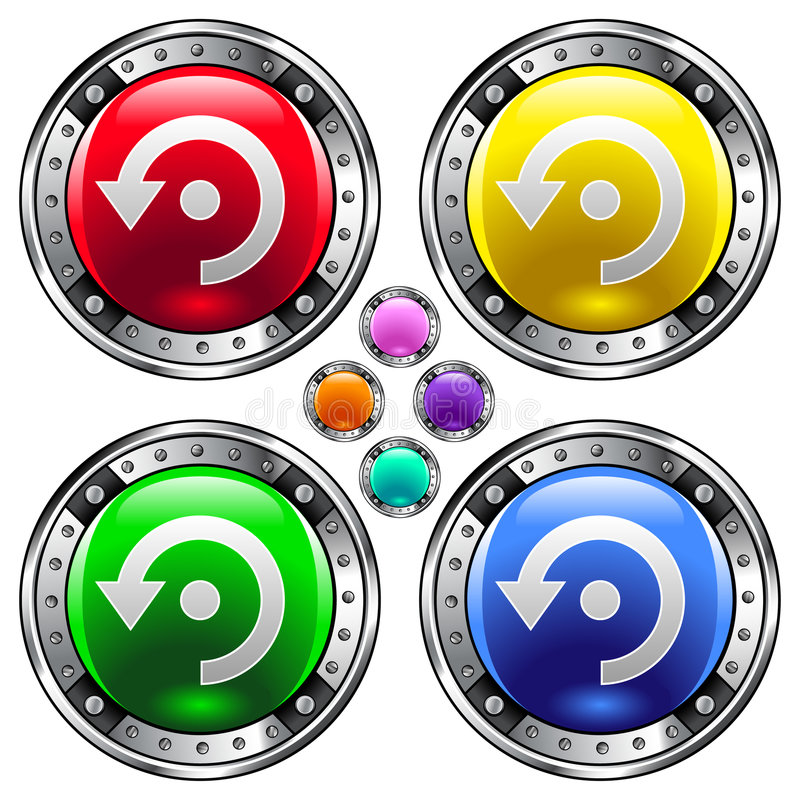 Download Vector Round Button With Computer Refresh Icon Stock Vector - Image: 8543319