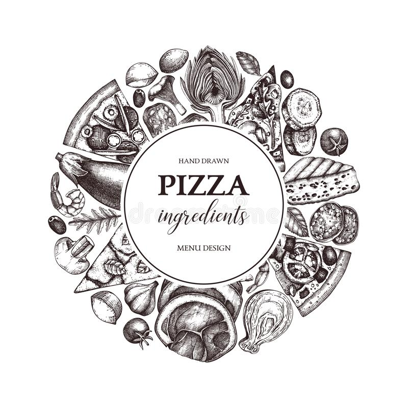 Vector round design with hand drawn pizza ingradients sketches. Vintage frame for pizzeria or cafe menu with meat, seafood, cheese vector illustration