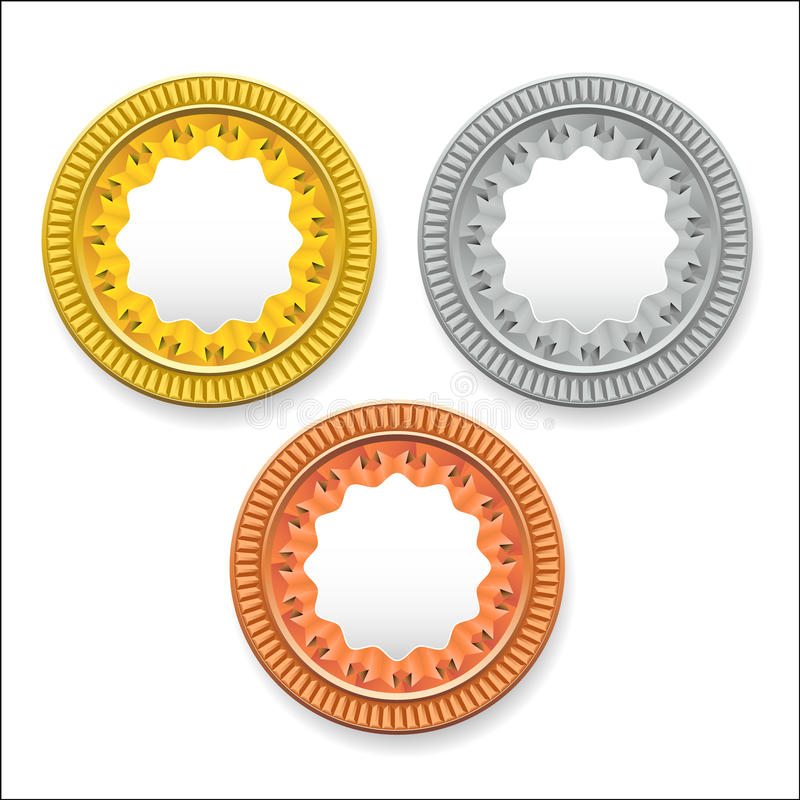 Vector round empty medals of gold silver bronze. It can be used as coins buttons icons. Eps 10 vector illustration