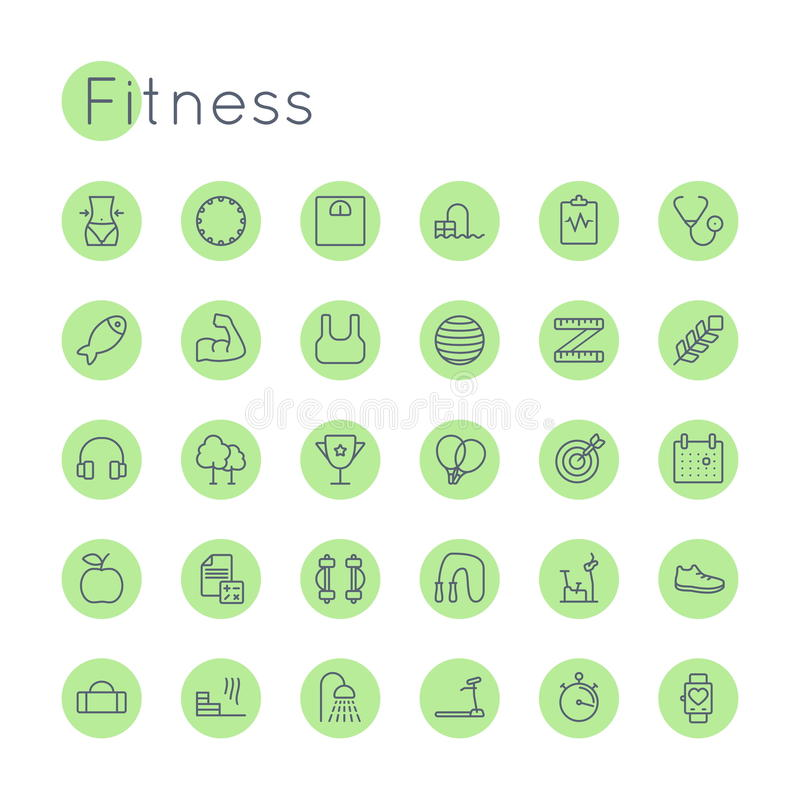 Vector Round Fitness Icons stock illustration