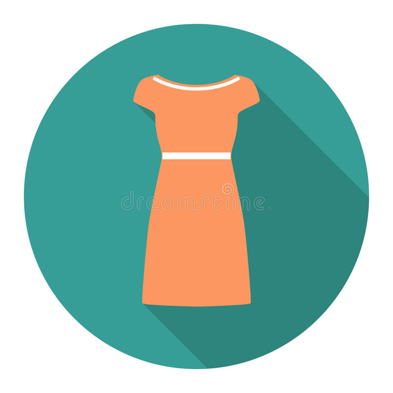 Vector round flat icon with cocktail dress. EPS stock illustration