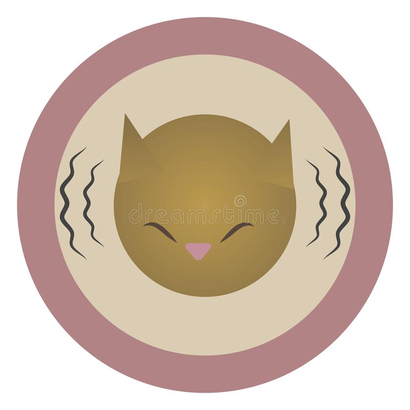 Vector round pink icon icon head of a red mournful painted cat with lines of sound vibration isolated on a white background royalty free illustration