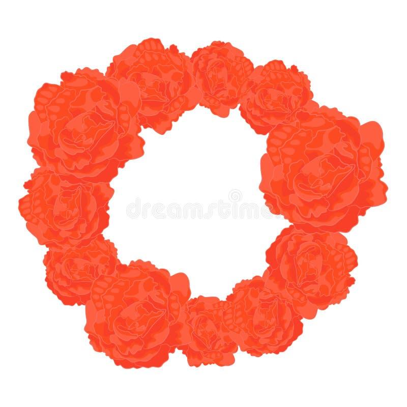 Vector Round Frame of Orange Roses royalty free illustration
