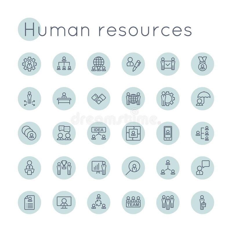 Vector Round HR Icons. Isolated on white background stock illustration
