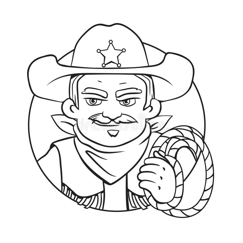 Vector round illustration with sheriff and lasso in his hand. stock illustration