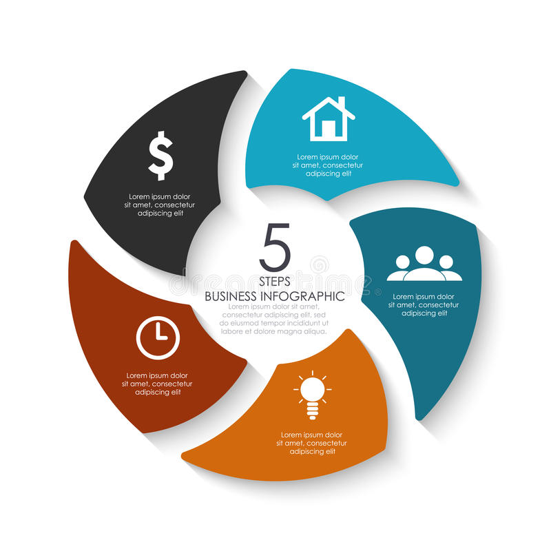Vector round infographics. Template for circle diagram, graph, presentation, web design and chart. stock illustration