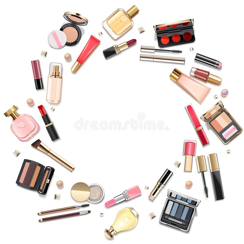 Vector Round Makeup Cosmetics Concept. Isolated on white background stock illustration