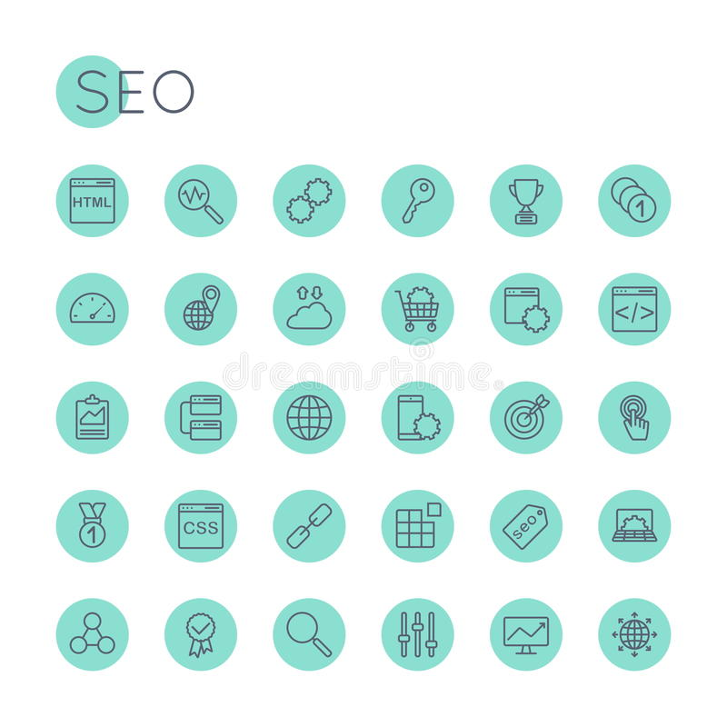 Vector Round SEO Icons. Isolated on white background royalty free illustration