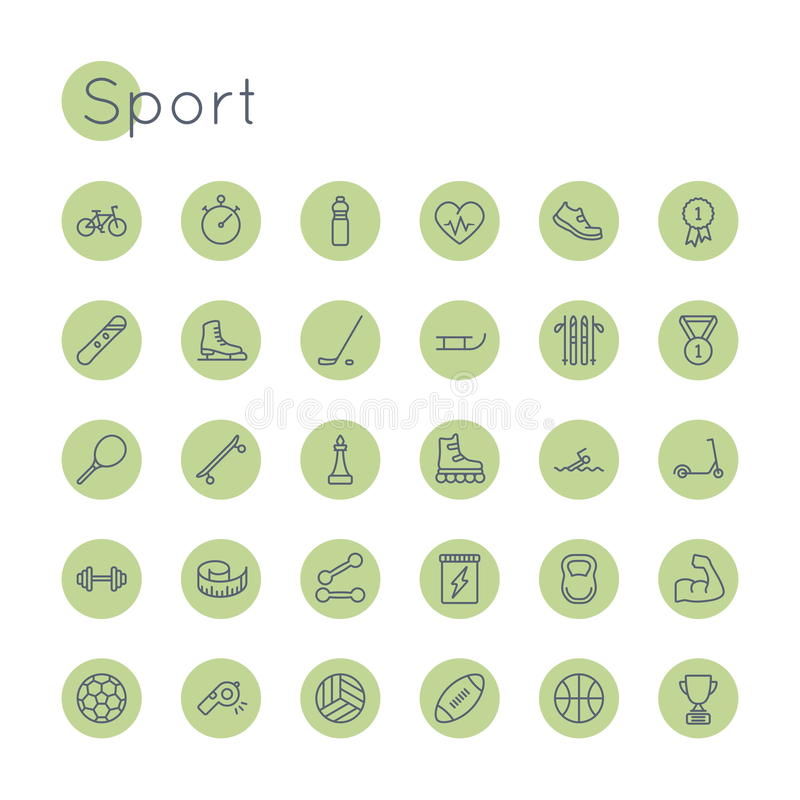 Vector Round Sport Icons royalty free illustration