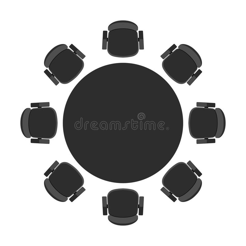 Vector round table for discussion royalty free illustration