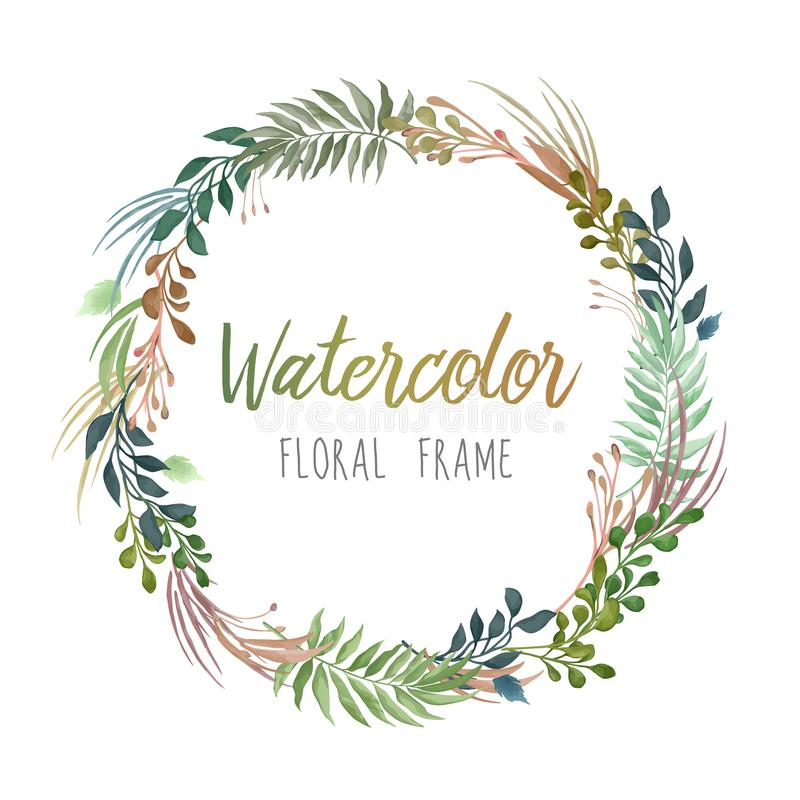 Vector round watercolor style frame with plants and flowers isolated on white background royalty free illustration