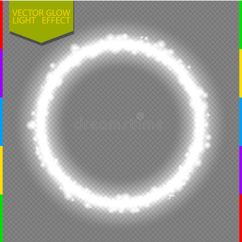 Vector Round White Shiny Frame Light Effect With Spark Isolated On ...