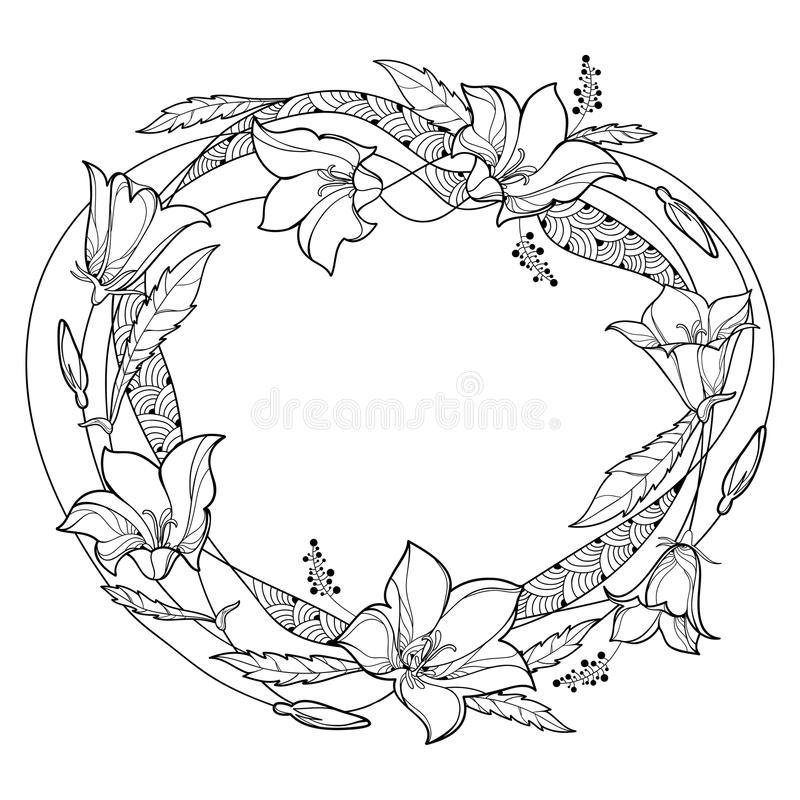 Vector round wreath with outline Campanula or Bellflower or Bluebell flower, leaf and bud in black isolated on white background. Ornate plant in contour style royalty free illustration