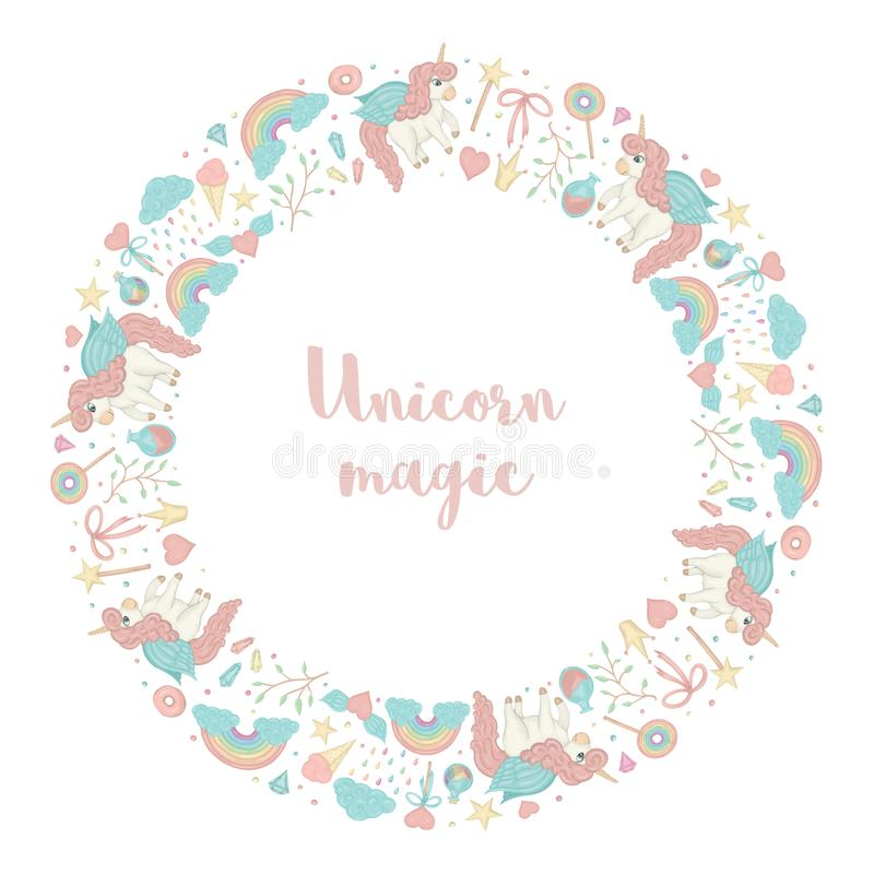 Vector round wreath with unicorn, rainbow, crown, star, cloud, crystals. Card template for children event. Girlish cute invitation or banner design vector illustration