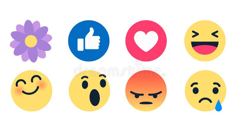 Vector round yellow cartoon bubble emoticons for social media chat comment reactions, icon template face tear, smile, sad, flower,. Love, like, Lol, laughter stock illustration