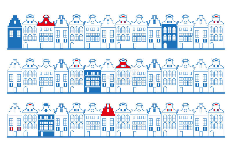 Vector rows of old Dutch Holland, Amsterdam traditional houses in blue, red and white. Flag colours royalty free illustration