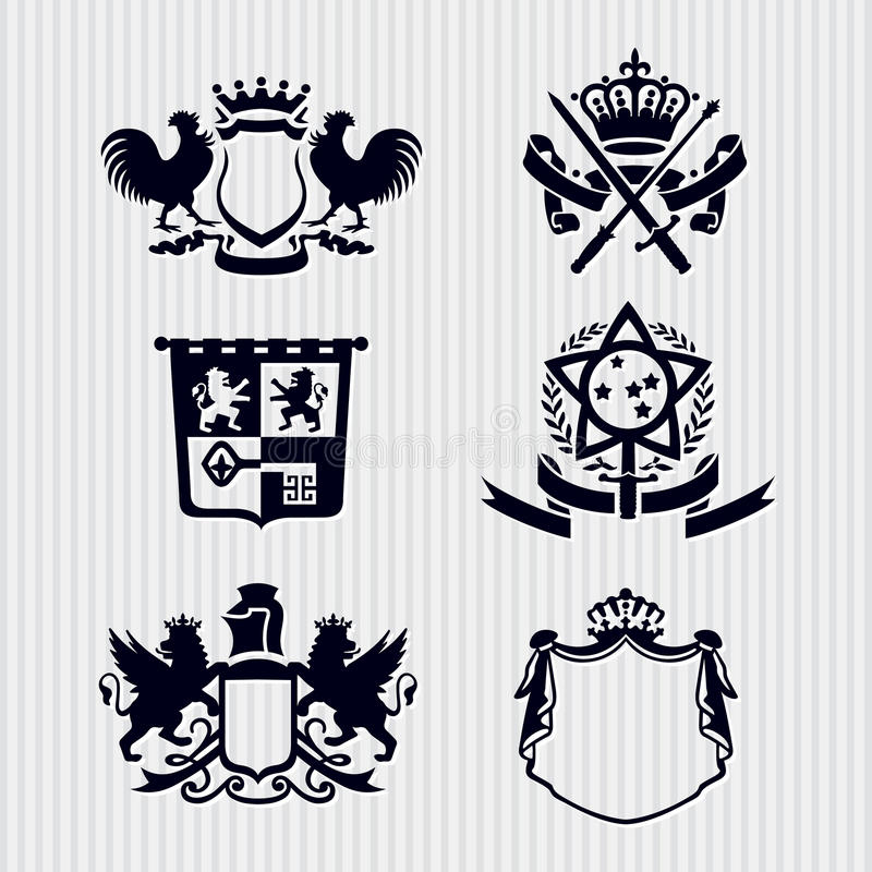 Vector Royal Crest Medallion Shield Crown stock illustration