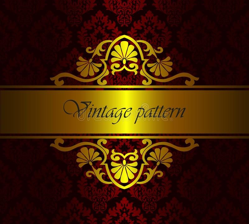Vector royal damask floral pattern as a background. Vintage luxury rich baroque gold template stock illustration