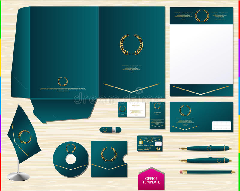 Vector Royal Turquoise Corporate Id Brand Book Template. Office ...