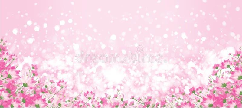 Vector roze bloemenbokehachtergrond vector illustratie