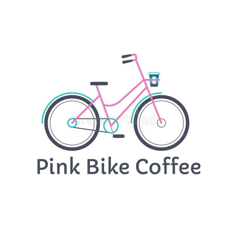 Vector roze fiets met koffiehouder EPS Embleemconcept voor Koffiehuis stock afbeeldingen