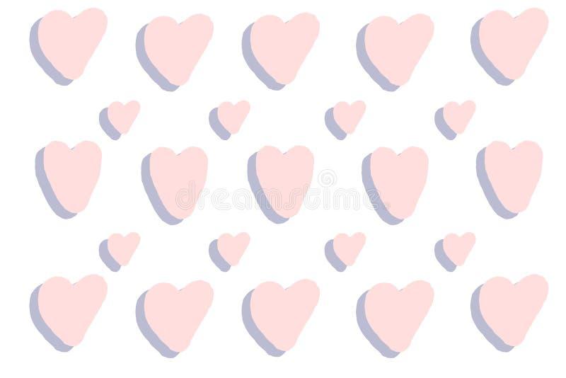 Vector roze hartenachtergrond Violette hartentextuur mooie illustratie Romantische kaart Handdrawn hart voor Huwelijksuitnodiging royalty-vrije illustratie