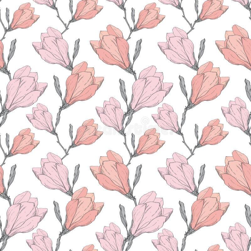 Vector Roze het Herhalen van Grey Vintage Magnolia Flowers Fabric Retro Naadloze die Patroonhand in Botanische Stijl wordt getrok stock illustratie