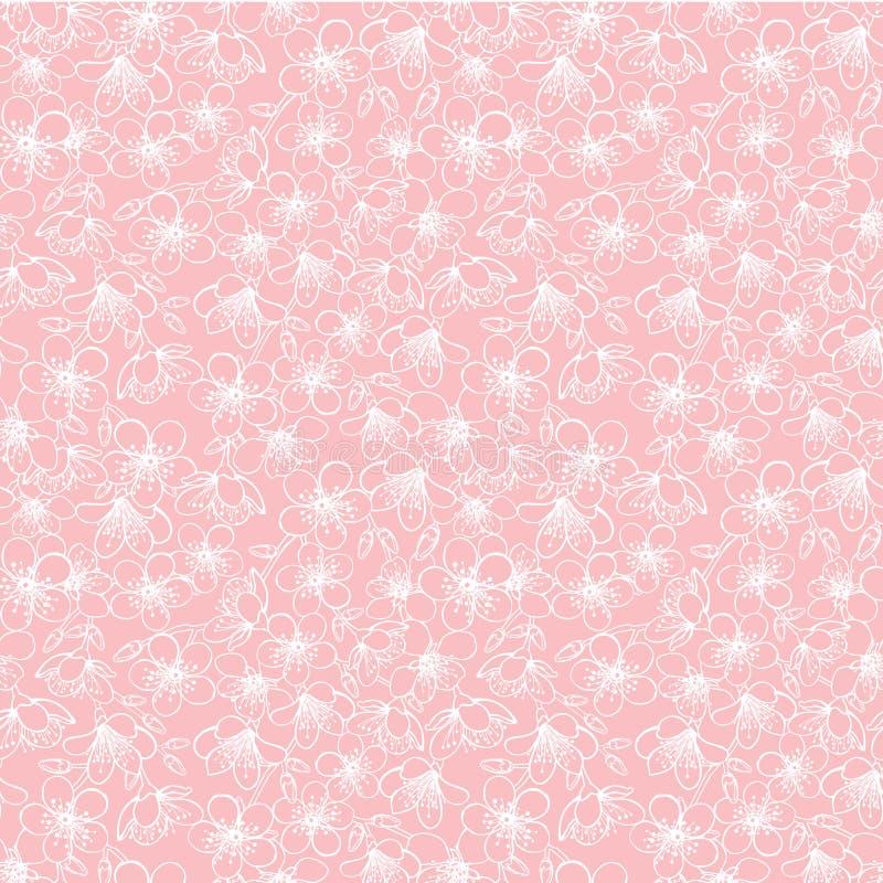 Vector roze kleine sakura van de kersenbloesem bloeit naadloze patroontextuur als achtergrond stock illustratie