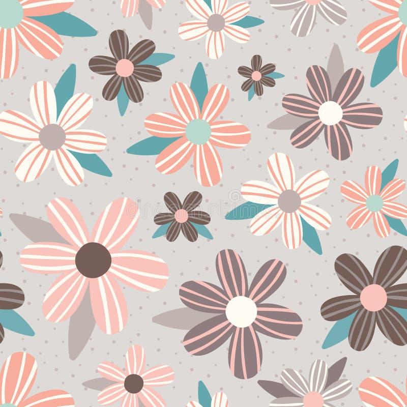 Vector Roze Taupe bloeit Naadloze Patroonachtergrond vector illustratie