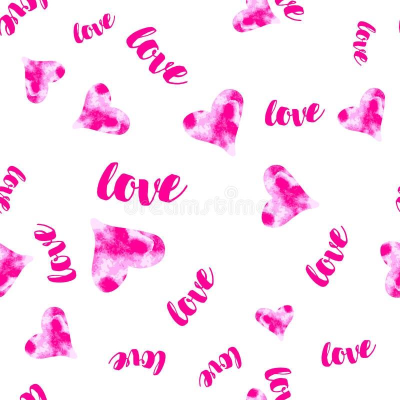 Vector roze Watercolour-harten met liefde naadloos patroon romantische achtergrond vector illustratie