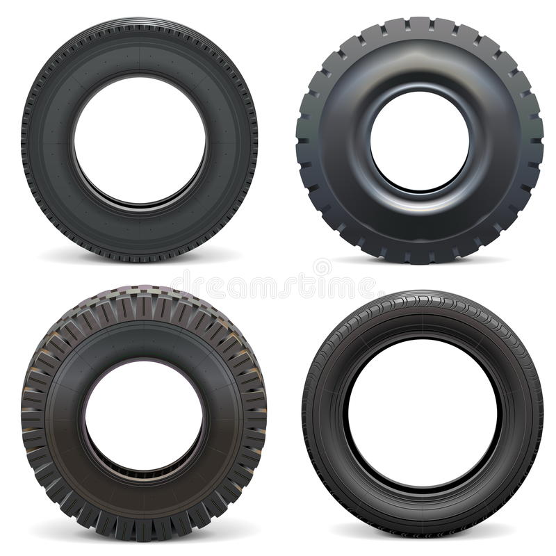 Vector Rubber Tires. Isolated on white background stock illustration