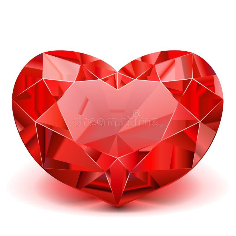 Vector Ruby Heart. On white background stock illustration
